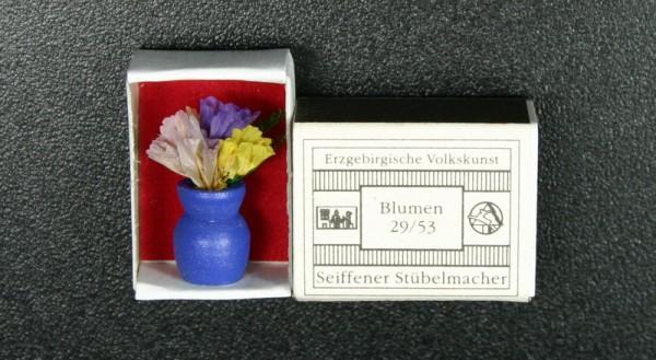 Mini - Zündholzschachtel Blumen, blau von Gunter Flath aus Seiffen / Erzgebirge Detailgetreue Nachbildung von einer Vase mit Blumen. Diese Vase wurde in eine …