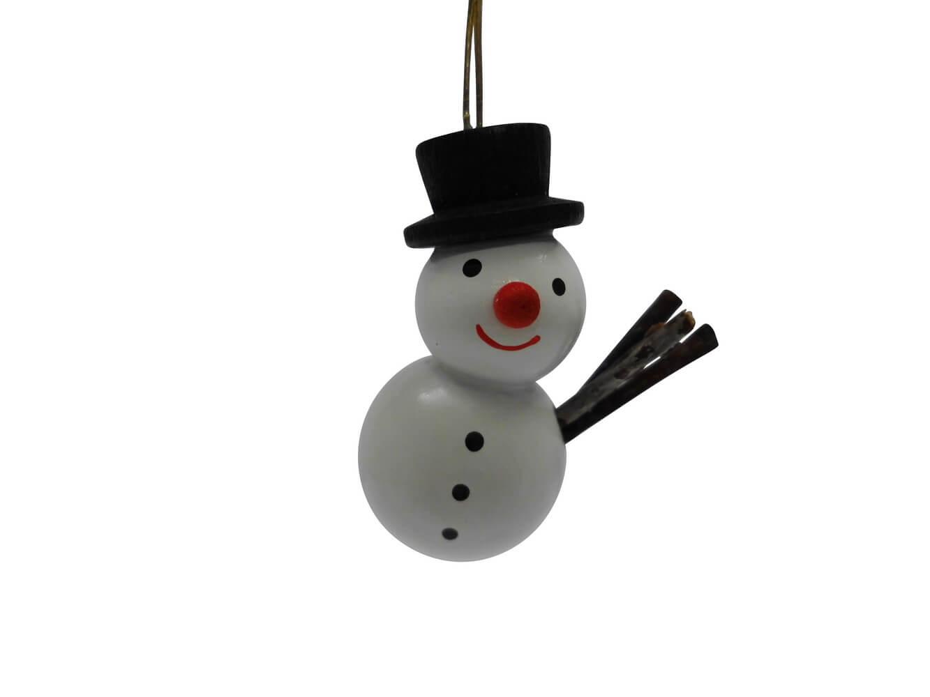 lustiger Schneemann mit schwarzen Hut von Nestler-Seiffen