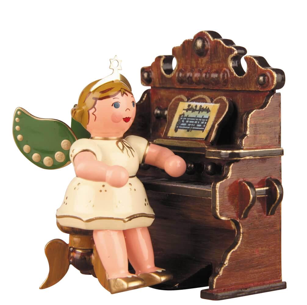Hubrig Volkskunst Weihnachtsengel mit Harmonium aus Holz