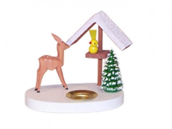 Kerzenhalter Reh mit Vogelhaus, farbig, 8 cm von Volker Zenker aus Seiffen
