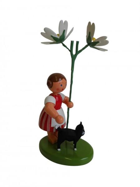 Blumenkinder - Blumenkind Mädchen mit Reifentier (Katze) und Sternmiere, 10 cm von WEHA-Kunst Dippoldiswalde/ Erzgebirge