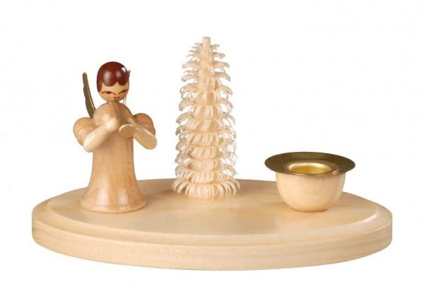 Weihnachtskerzenhalter stehender Engel mit Flöte hergestellt von Albin Preißler