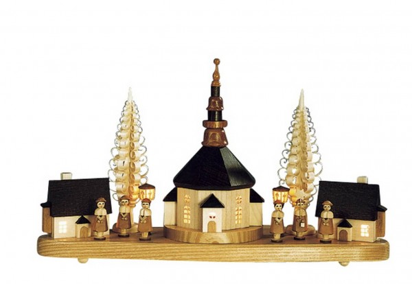 Knuth Neuber, Sockelbrett Seiffener Kirche mit Kurrende, elektrisch beleuchtet
