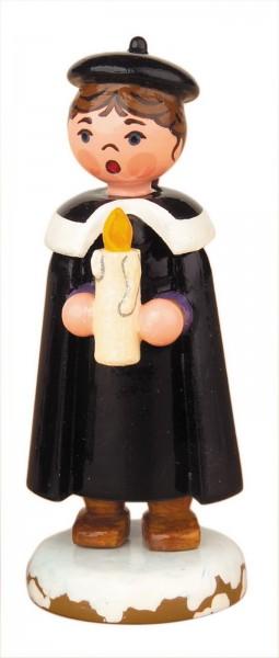 Weihnachtsfigur Kurrendemädchen mit Licht von Hubrig Volkskunst GmbH Zschorlau/ Erzgebirge ist 7 cm groß.