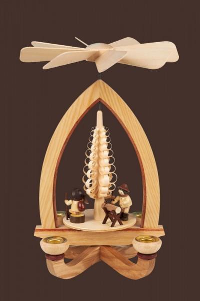 Weihnachtspyramide mit Holzmacher, natur, 28 cm, Heinz Lorenz Olbernhau/ Erzgebirge