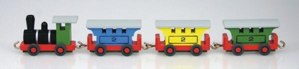 Personenzug aus Holz, farbig von Stephan Kaden