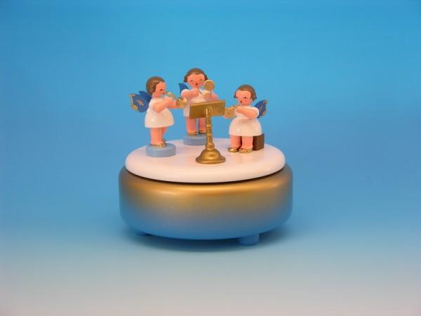 Spieluhr & Spieldose mit 3 Weihnachtsengel, blaue Flügel, 13,0 x 13,0 x 12,0 cm, Frieder & André Uhlig Seiffen/ Erzgebirge