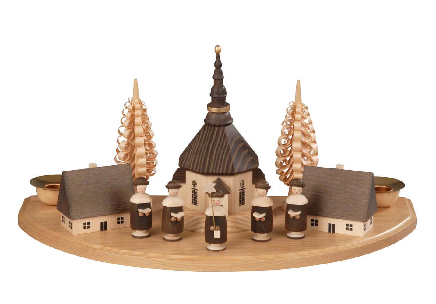 Weihnachtskerzenhalter Seiffener Dorf mit Kurrende, natur, 30 cm hergestellt von Albin Preißler