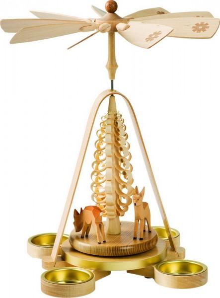 Weihnachtspyramide Rehe für Teelichter, 28 cm, Richard Glässer GmbH Seiffen/ Erzgebirge
