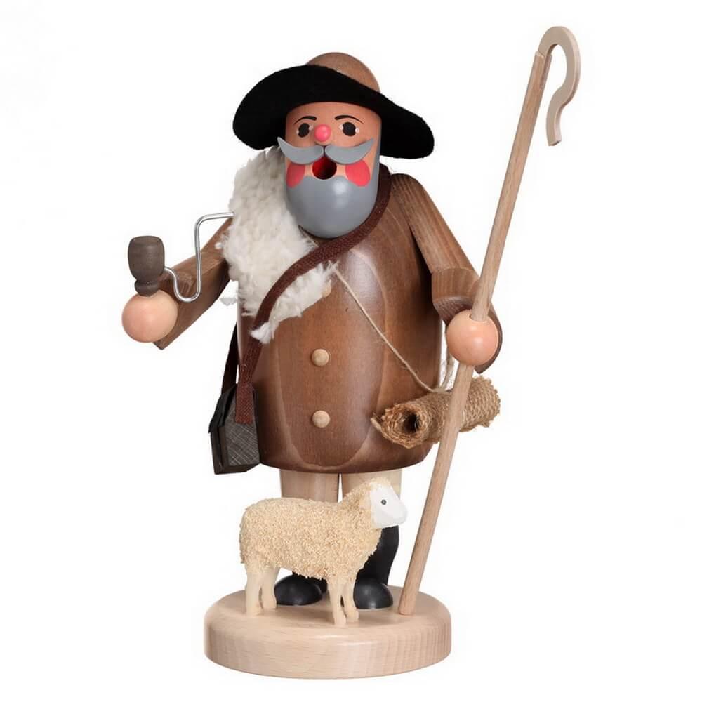 Räuchermann Schäfer mit Schaf von Karl Werner Sayda / Erzgebirge Ein neues Räuchermännchen in Wichteloptik. Mit seinem Schäferstab in der Hand, kann er seine …