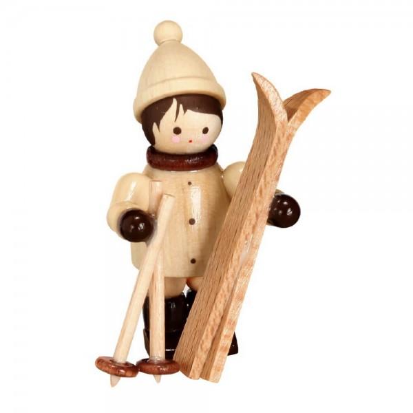 Der Skiträger, senkrecht, mini in natur von Romy Thiel Deutschneudorf/ Erzgebirge, macht sich auf um das schöne Wetter auf der Piste auszunutzen. Es …