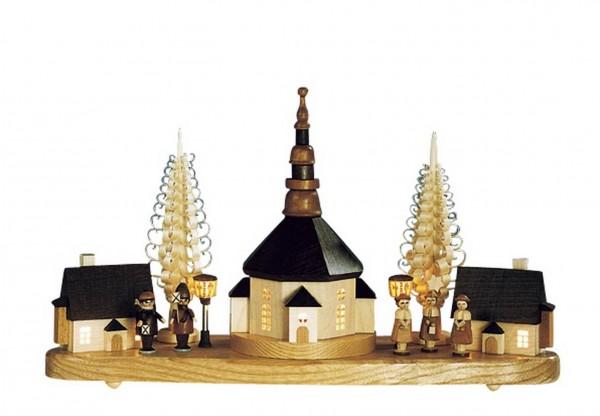 Knuth Neuber, Sockelbrett Seiffener Kirche mit Laternenkinder