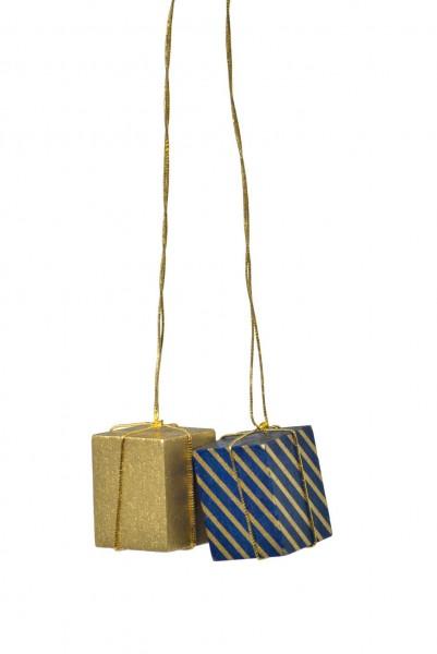 KWO Christbaumschmuck 2 Pakete in gold/blau und in gold zum Hängen für den Weihnachtsbaum