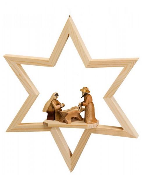 Fensterschmuck Stern mit Christi Geburt, natur, zum hängen, 23 cm, Robbi Weber Seiffen/ Erzgebirge