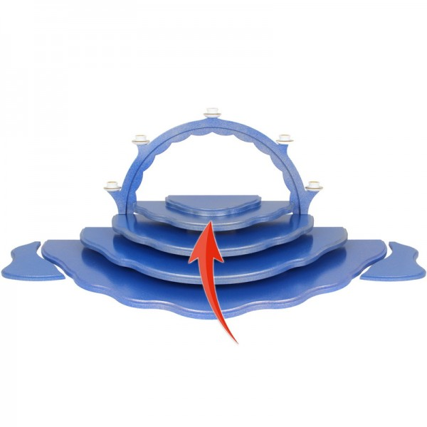 Grundwolke 2-stufig für Wolkenstecksystem blau/gold der Serie Uhlig Engel bunt mit blauen Flügeln, 32,5 x 16 x 2,4 cm, Frieder & André Uhlig Seiffen/ …