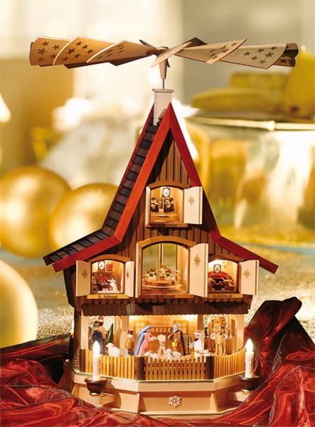 Weihnachtspyramide Adventshaus, elektrisch beleuchtet, 77 cm, Richard Glässer GmbH Seiffen/ Erzgebirge