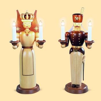 Engel und Bergmann, 120 V, natur, groß, elektrisch beleuchtet inklusiveTrafo (120 V 50 Hz), je 17 x 40 cm, Müller GmbH Kleinkunst aus dem Erzgebirge