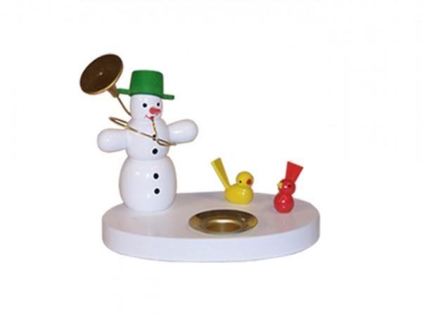 Kerzenhalter Schneemann mit Vögeln, farbig, 7 cm von Volker Zenker aus Seiffen