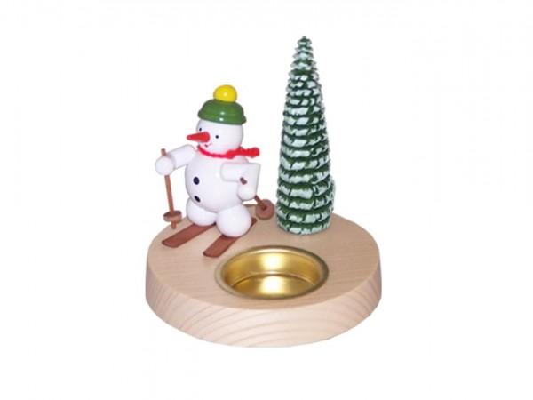 Teelichthalter Schneemann mit Schneeschuh, farbig, 10 cm von Volker Zenker aus Seiffen