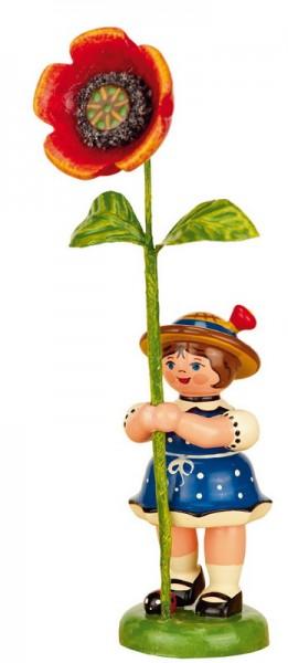 Blumenkind mit Mohnblume, 11 cm, Hubrig Volkskunst GmbH Zschorlau/ Erzgebirge