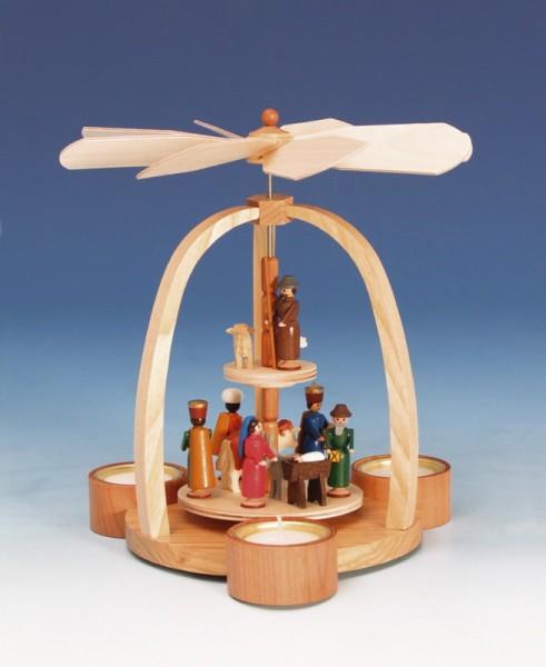Teelichtweihnachtspyramide Christi Geburt, bunt, 24 cm, Knuth Neuber Seiffen/ Erzgebirge