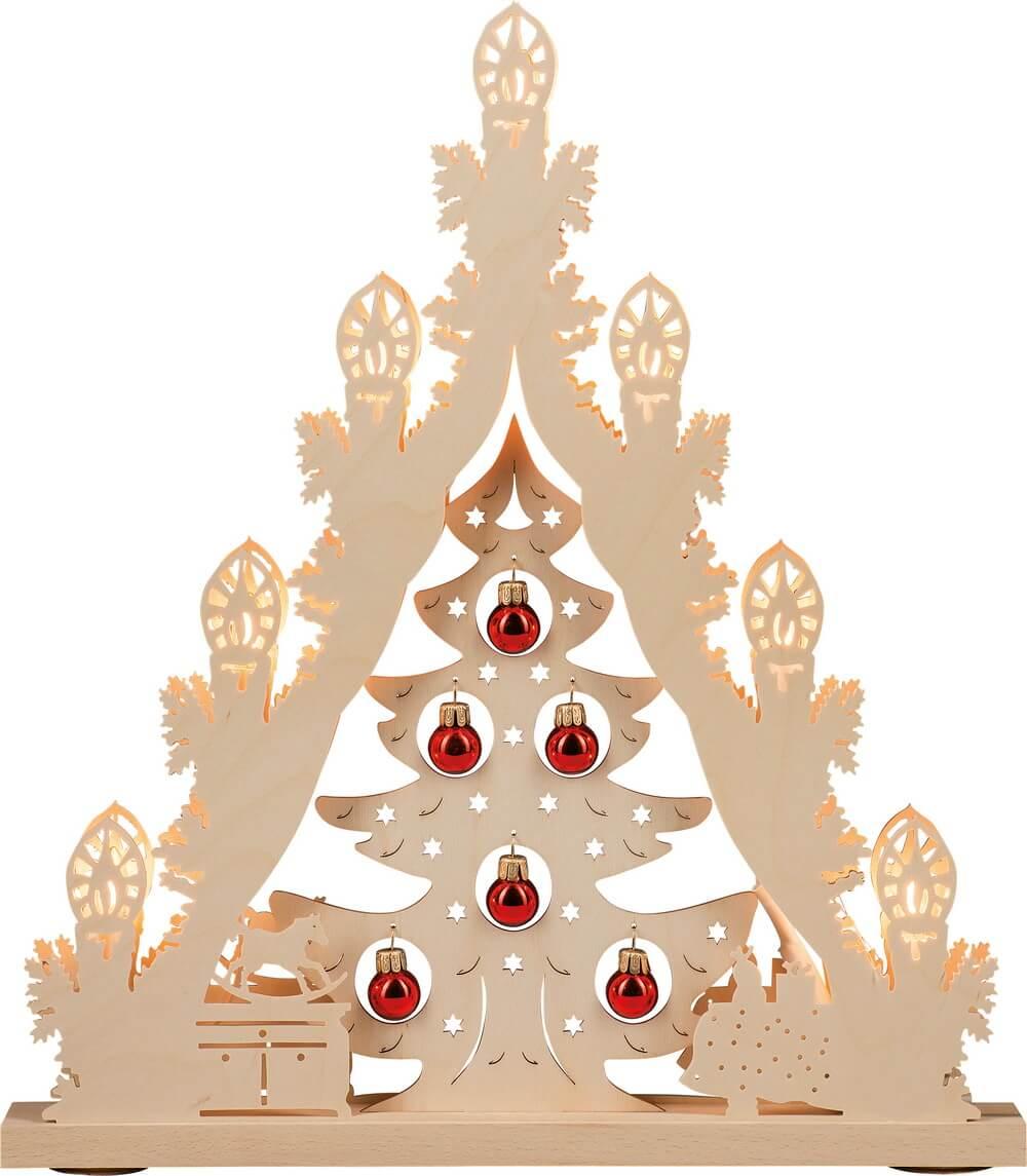 Weigla Lichterspitze Weihnachtsbaum mit roten Kugeln