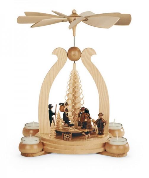 Weihnachtspyramide & Bogenpyramide Waldmotiv, natur mit Teelichter, 25 x 20 x 34 cm, Müller GmbH Kleinkunst aus dem Erzgebirge
