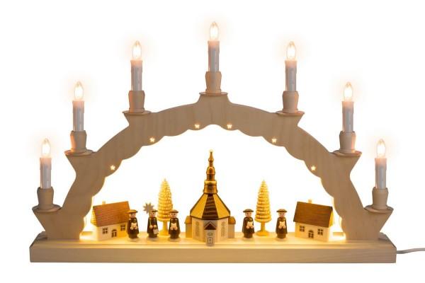 Schwibbogen elektrisch beleuchtet mit dem Motiv Seiffener Dorf mit 2-facher Beleuchtung von Nestler-Seiffen_Bild1
