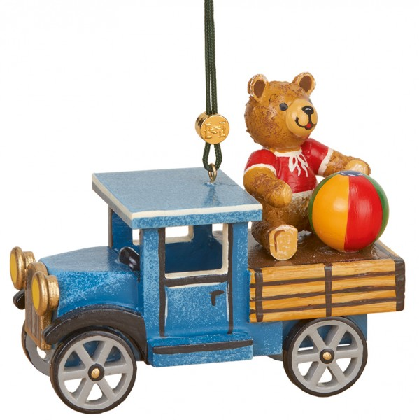 Baumbehang & Christbaumschmuck LKW mit Teddy, 10 cm, Hubrig Volkskunst GmbH Zschorlau/ Erzgebirge