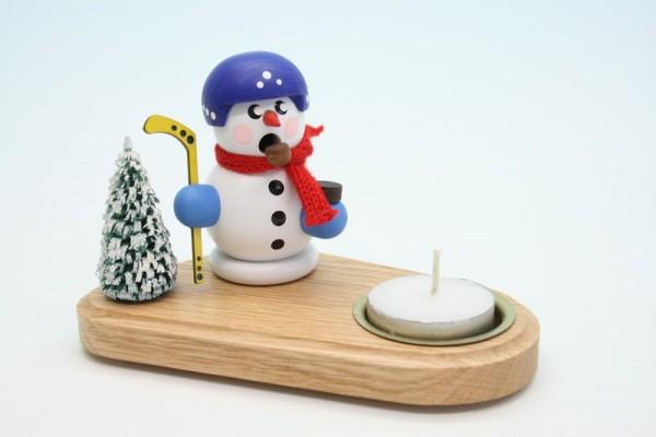 Weihnachtskerzenhalter Hockeyspieler mit Helm, 14 x 8 x 8 cm, Gerd Hofmann Seiffen/ Erzgebirge