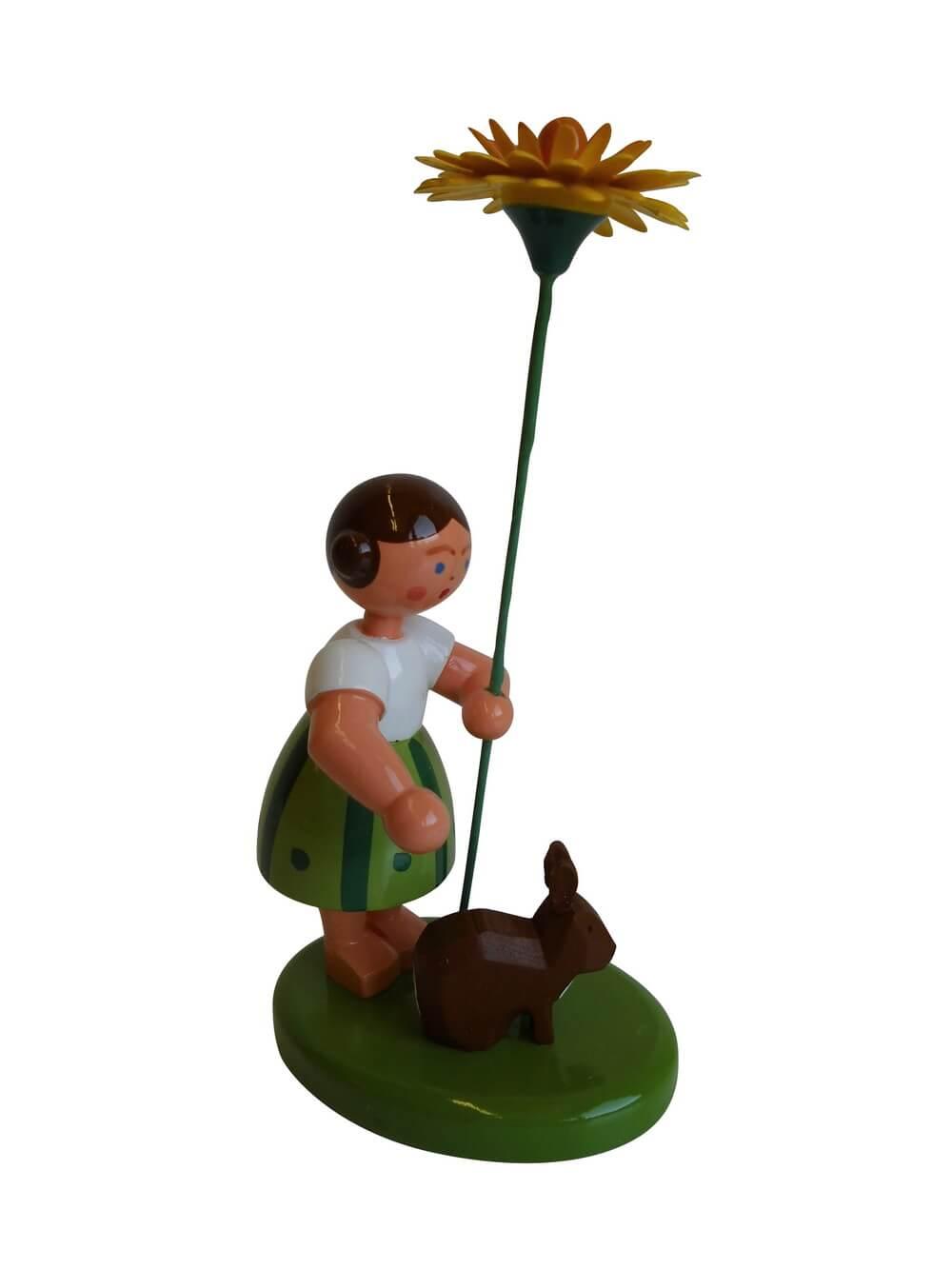 Blumenkinder - Blumenkind Mädchen mit Reifentier (Hase) und Löwenzahn, 10 cm von WEHA-Kunst Dippoldiswalde/ Erzgebirge