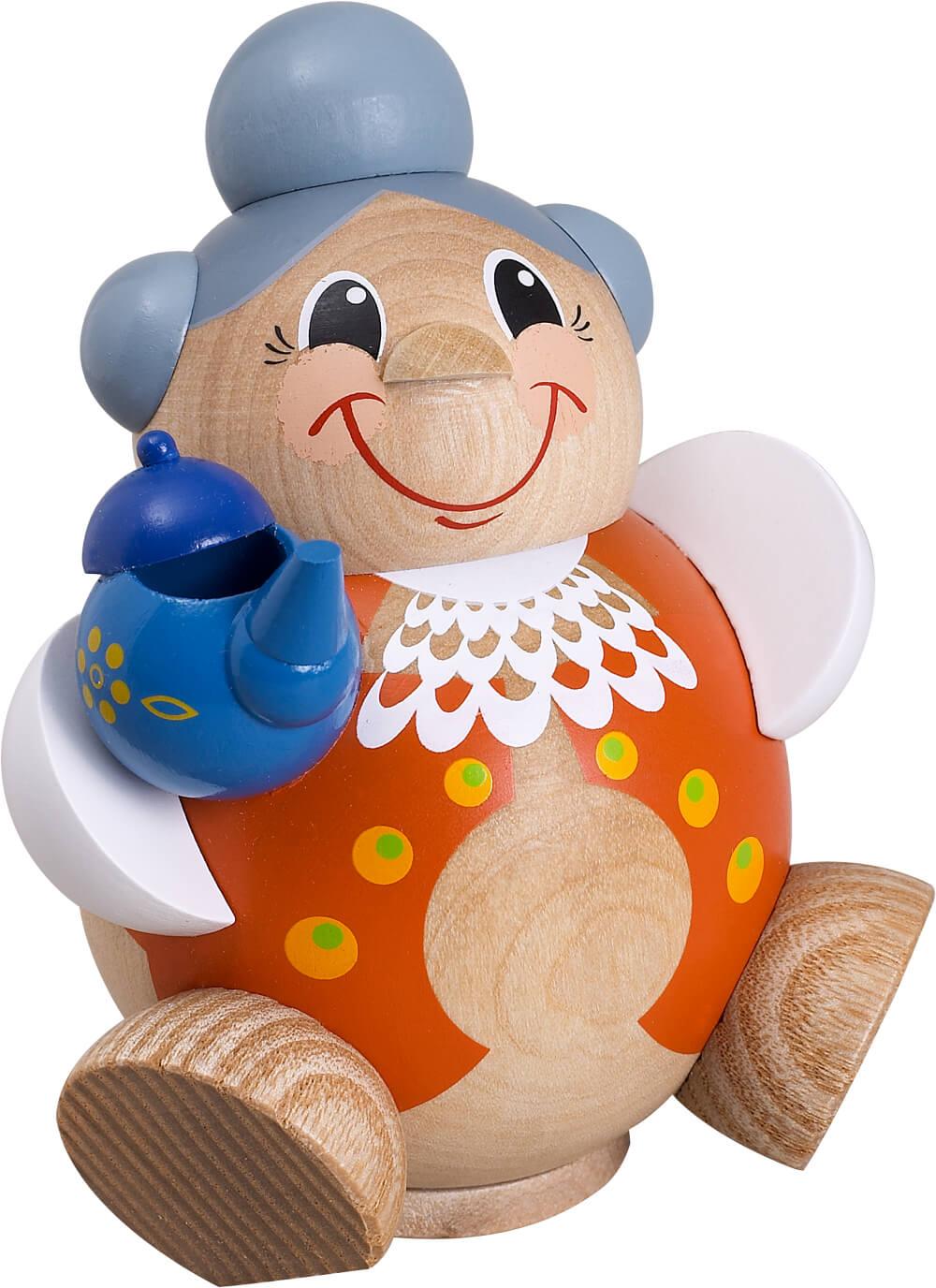 lustiges Räuchermännchen Oma mit grauen Haaren und Kaffeekanne
