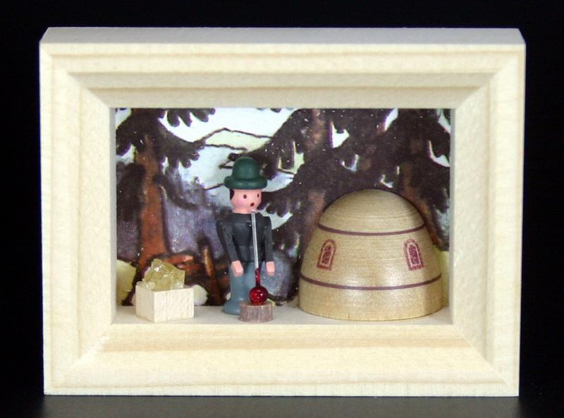 Miniatur im Rähmchen Glasbläser von Gunter Flath aus Seiffen / Erzgebirge Detailgetreue Nachbildung eines Glasbläsers aus früheren Zeiten. Dieser Glasbläser …