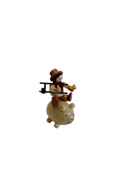 Glücksbringer von Romy Thiel mit Glücksschwein, mini, natur_Bild1