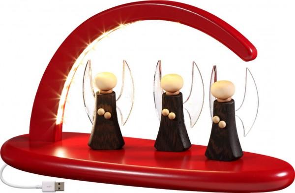 moderner, schlichter LED Schwibbogen in rot mit Engel