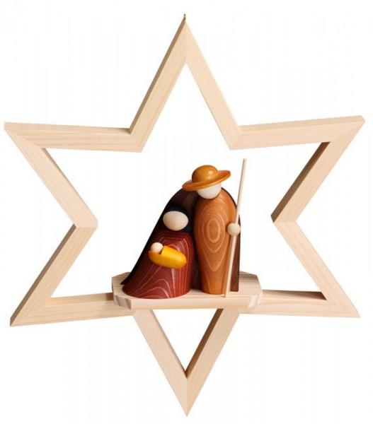 Fensterschmuck & Fensterbild Geborgenheit, farbig im hellen Stern zum hängen, 23 cm, Robbi Weber Seiffen/ Erzgebirge
