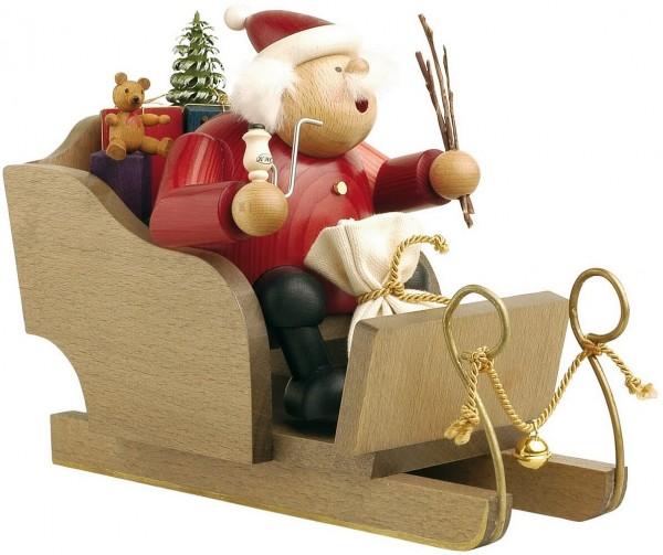 Räuchermännchen Weihnachtsmann mit Schlitten, 18 cm von KWO Kunstgewerbe-Werkstätten Olbernhau/ Erzgebirge