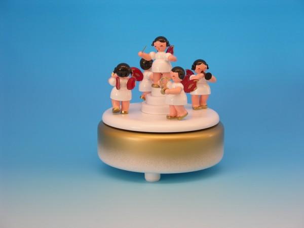 Spieluhr & Spieldose, 5 mit Weihnachtsengeln rote Flügel, 13,0 x 13,0 x 14,0 cm, Frieder & André Uhlig Seiffen/ Erzgebirge