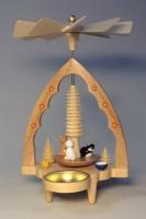 Vorschau: Weihnachtspyramide Teelichtpyramide Katzen, 20 cm hoch, Richard Glässer GmbH Seiffen/ Erzgebirge