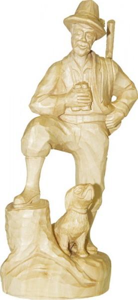 Förster mit Hund, natur, geschnitzt, 25 cm