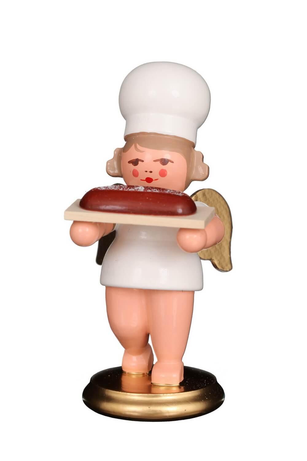 Weihnachtsengel - Bäckerengel mit Stollen, 8 cm von Christian Ulbricht GmbH & Co KG Seiffen/ Erzgebirge