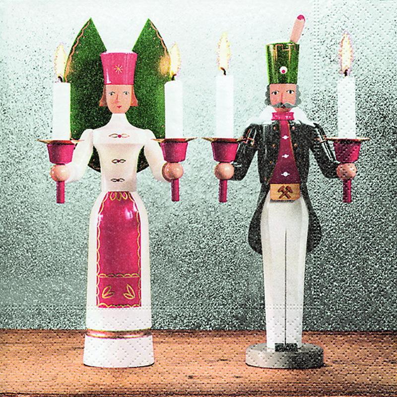 Weihnachtsservietten mit Erzgebirgstraditionmotiv, 20 Stück, 3 - lagig, 33 x 33 cm