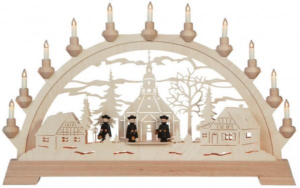 KWO Schwibbogen Motiv Seiffner Kirche mit Figuren aus dem Erzgebirge elektrisch beleuchtet
