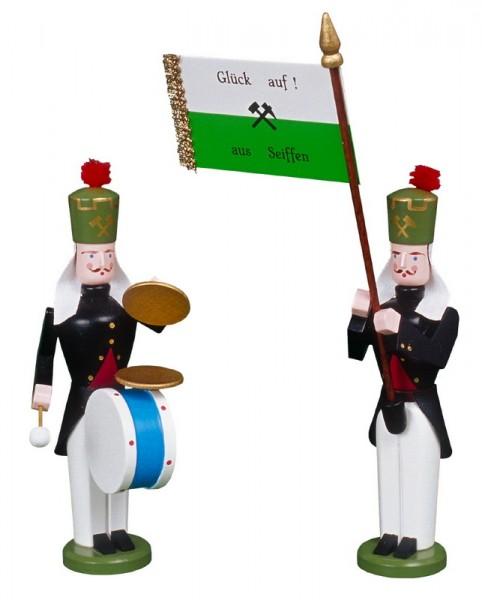 Erzgebirgische Bergmänner Fahnenträger und Pauker, handbemalt und in Handarbeit gefertigt, 13 cm von Volkskunstwerkstatt Eckert aus Seiffen/ Erzgebirge