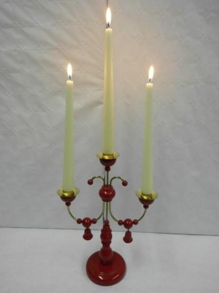 Leuchter, 3- armig, rot lackiert ohne Kerzen 28 cm hoch, Nestler-Seiffen.com OHG Seiffen/ Erzgebirge