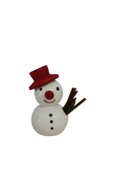 Weihnachtsfigur Schneemann mit rotem Hut, 2,7 cm, Nestler-Seiffen.com OHG Seiffen/ Erzgebirge