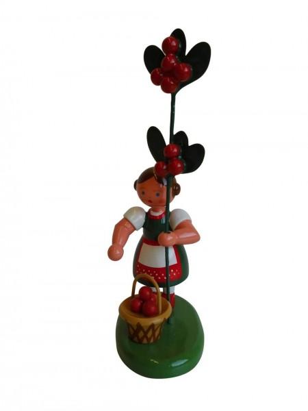 Blumenkinder - Försterfrau mit Korb und Preiselbeere, handbemalt, 12 cm von WEHA-Kunst Dippoldiswalde/ Erzgebirge