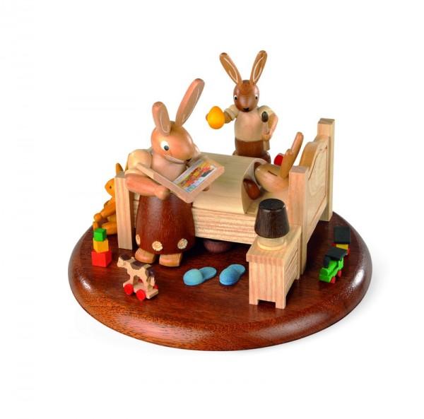 Spieluhr Motivplattform für elektronische Spieldosen Hasenbett Gute-Nacht-Geschichten, 10 cm, Durchmesser: 15 cm, Müller GmbH Kleinkunst aus dem Erzgebirge