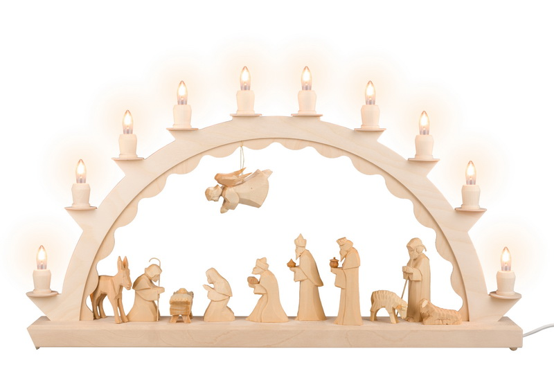Schwibbogen mit Christi Geburt, geschnitzt, natur, elektrisch beleuchtet, 60 cm x 29 cm, Nestler-Seiffen.com OHG Seiffen/ Erzgebirge