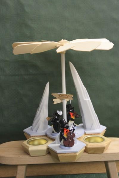 Weihnachtspyramide mit Pinquineband für Teelichter, weiß, 25 x 23 cm von Nestler-Seiffen.com OHG Seiffen/ Erzgebirge